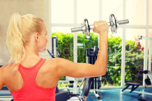 Deportivo mujer pesado acero atrás Foto stock © dolgachov