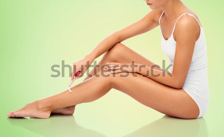close up of woman sunbathing in bikini swimsuit Stock photo © dolgachov