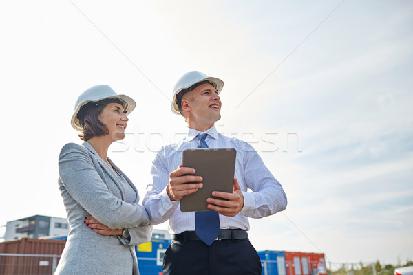 Gelukkig bouwers buitenshuis business gebouw Stockfoto © dolgachov