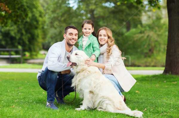 happy family with labrador retriever dog in park Stock photo © dolgachov