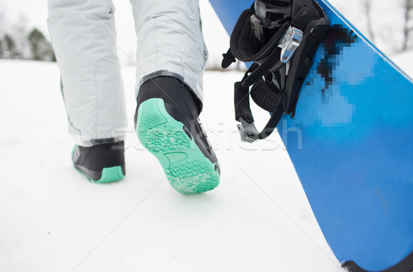 close up of snowboarder walking with snowboard Stock photo © dolgachov