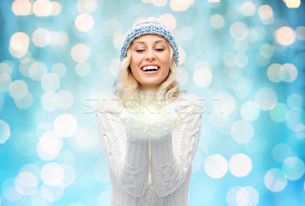 女性 冬 帽子 妖精 ほこり ストックフォト © dolgachov