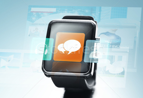 close up of black smart watch with messenger icon Stock photo © dolgachov