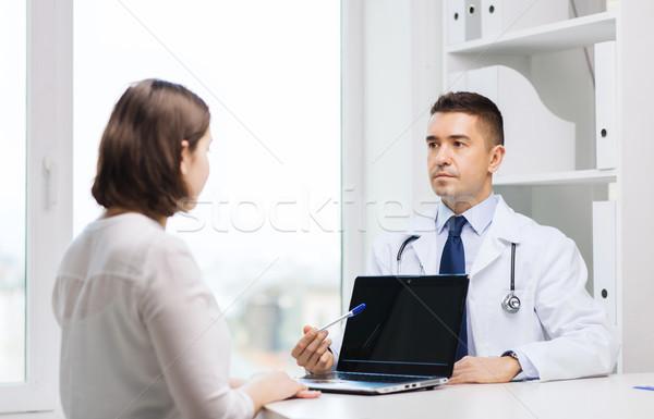 Foto stock: Médico · mulher · jovem · reunião · hospital · medicina