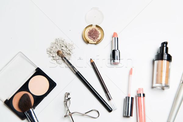Közelkép smink kozmetika szépség divat fehér Stock fotó © dolgachov