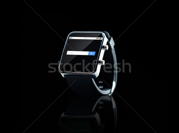 close up of smart watch with internet search bar Stock photo © dolgachov