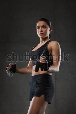 若い女性 筋肉 ケトルベル ジム フィットネス スポーツ ストックフォト © dolgachov