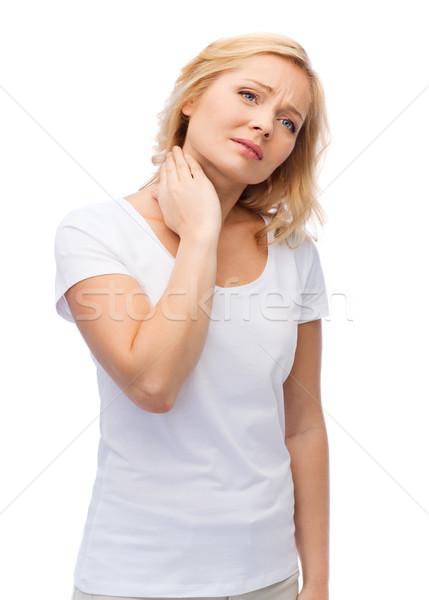 不幸 女性 首の痛み 人 医療 ストックフォト © dolgachov