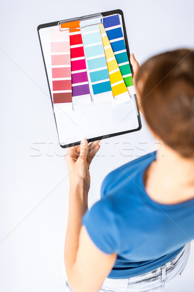 Mulher trabalhando cor design de interiores Foto stock © dolgachov