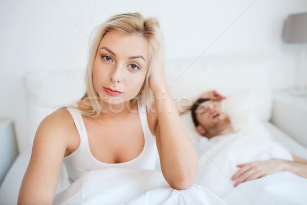 目が覚める 女性 不眠症 ベッド 人 健康 ストックフォト © dolgachov