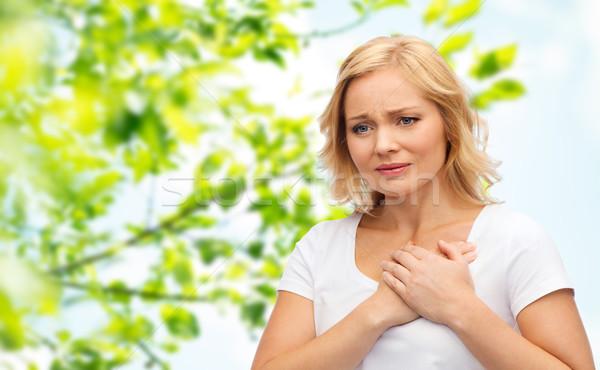 Boldogtalan nő szenvedés szívfájdalom emberek egészségügy Stock fotó © dolgachov