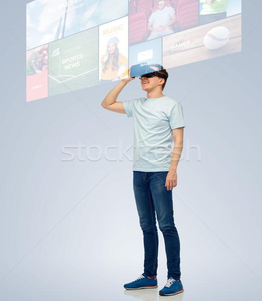 Glücklich Mann Wirklichkeit Headset 3D-Brille Stock foto © dolgachov
