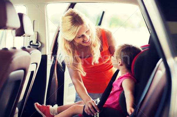Gelukkig moeder kind auto zitting gordel Stockfoto © dolgachov