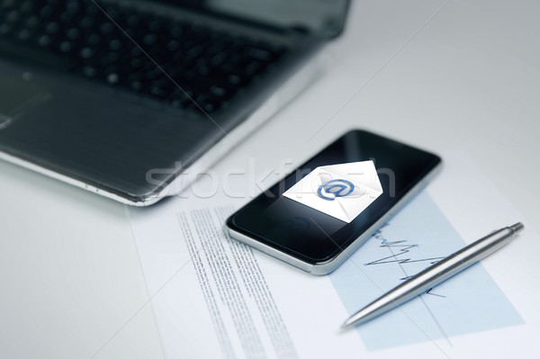 close up of smartphone with email message icon Stock photo © dolgachov