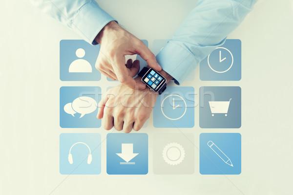 Kezek alkalmazás ikonok okos óra üzlet Stock fotó © dolgachov