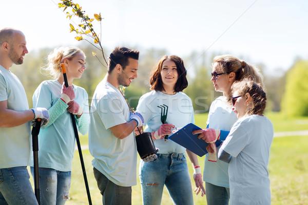 Stock fotó: Csoport · önkéntesek · ültet · fák · park · önkéntesség