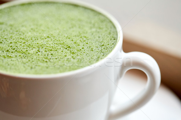 close up of cup with matcha green tea latte Stock photo © dolgachov