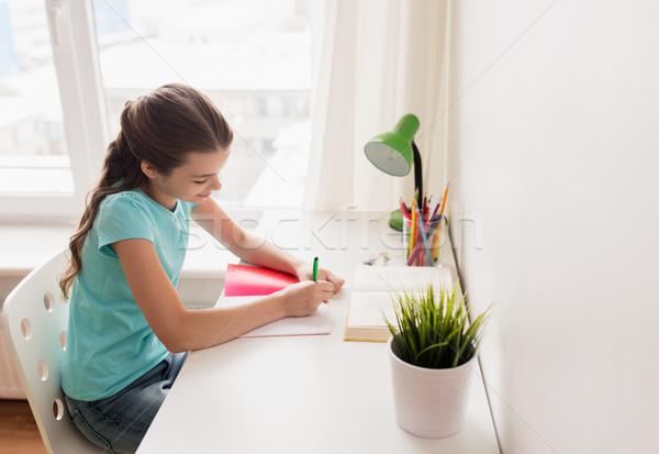 счастливая девушка книга Дать ноутбук домой люди Сток-фото © dolgachov
