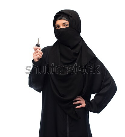 praying muslim woman in hijab over white Stock photo © dolgachov