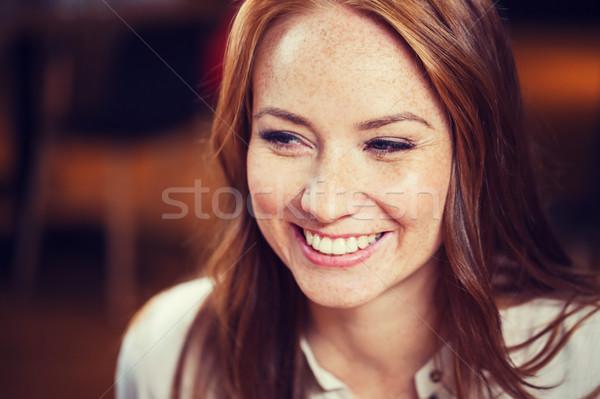 Mosolyog boldog fiatal vörös hajú nő női arc női Stock fotó © dolgachov
