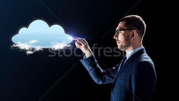 businessman working with virtual cloud hologram Stock photo © dolgachov