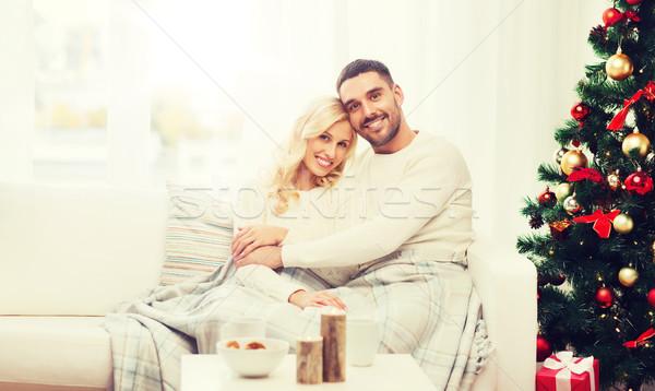 Szczęśliwy para domu choinka rodziny christmas Zdjęcia stock © dolgachov