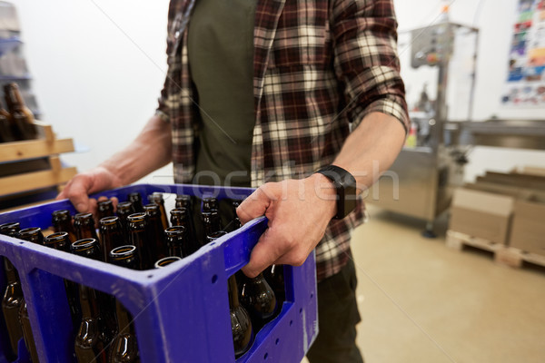 man with bottles in box at craft beer brewery Stock photo © dolgachov