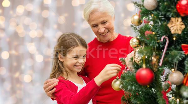祖母 孫娘 クリスマスツリー 冬 休日 家族 ストックフォト © dolgachov