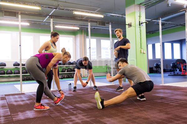 Grupy szczęśliwy znajomych siłowni fitness Zdjęcia stock © dolgachov