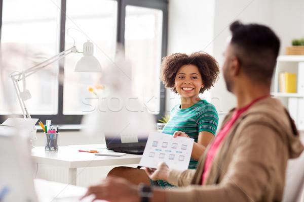 Foto stock: Feliz · criador · trabalhadores · laptops · escritório · pessoas · de · negócios