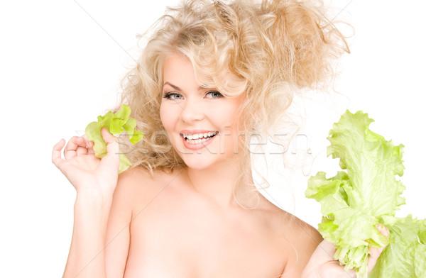 Feliz mujer lechuga Foto blanco hojas Foto stock © dolgachov