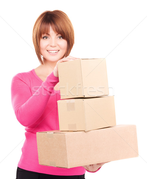 Stock photo: businesswoman with parcels