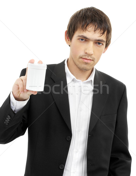 confident man showing blank medication container Stock photo © dolgachov