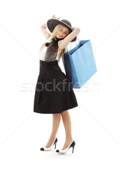 Retro Hat blu shopping bag elegante Foto d'archivio © dolgachov