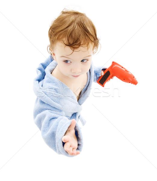 baby boy with toy drill Stock photo © dolgachov