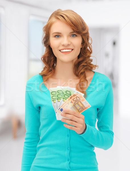 Boldog tinilány Euro pénz pénz kép Stock fotó © dolgachov