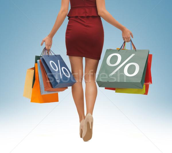 Uzun bacaklar resim kadın kız alışveriş Stok fotoğraf © dolgachov