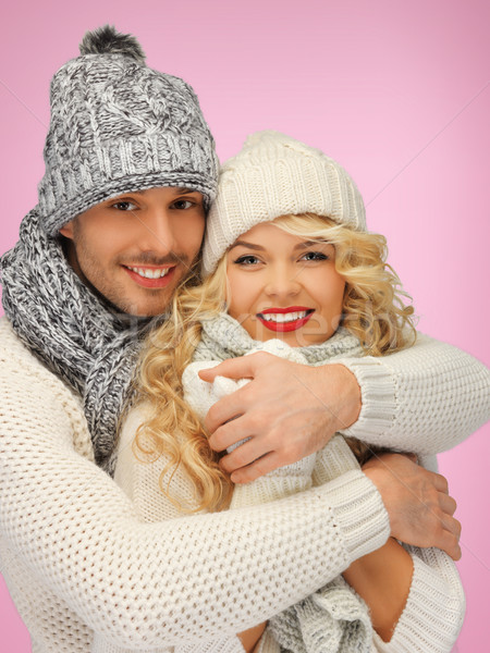 Família casal inverno roupa brilhante quadro Foto stock © dolgachov