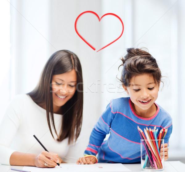 Сток-фото: матери · дочь · рисунок · семьи · детей · счастливые · люди