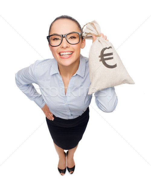 happy businesswoman holding money bag with euro Stock photo © dolgachov