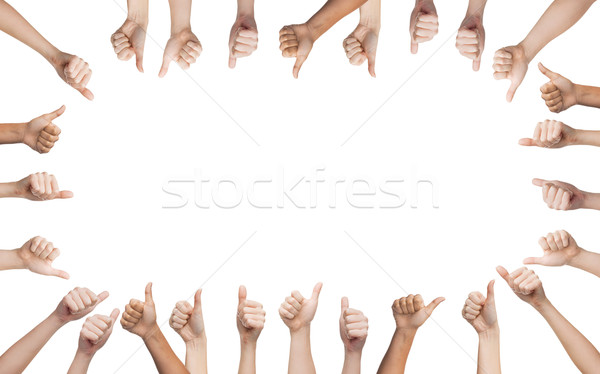 Stock photo: human hands showing thumbs up in circle