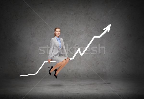 Mosolyog üzletasszony ül diagram üzlet közgazdaságtan Stock fotó © dolgachov