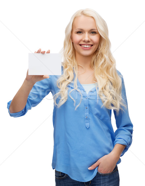 Gülen kız iş ad kart mutluluk Stok fotoğraf © dolgachov