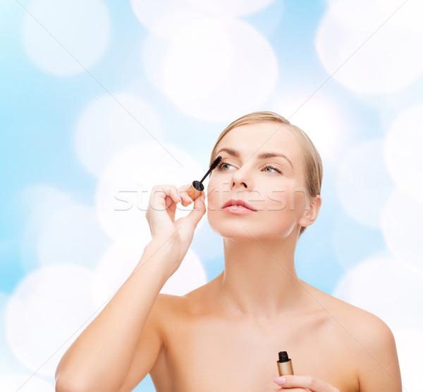 Bela mulher rímel cosméticos saúde beleza azul Foto stock © dolgachov
