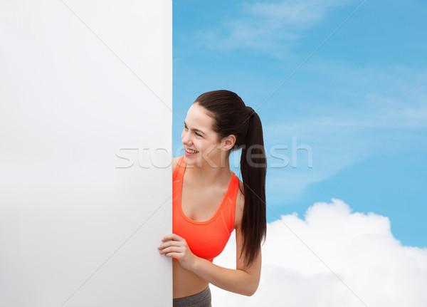 Sportbekleidung Fitness Ernährung lächelnd Stock foto © dolgachov