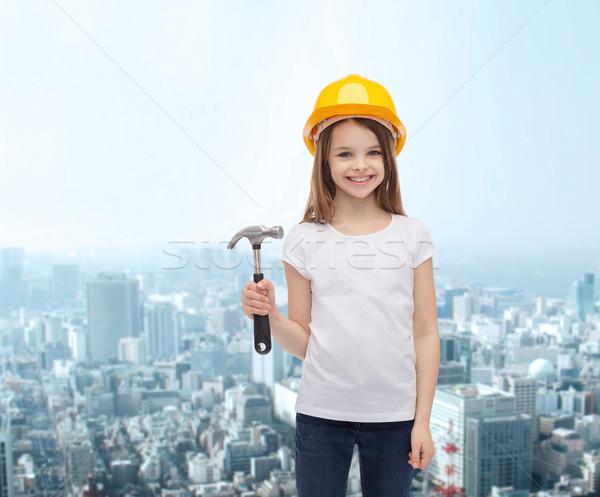 smiling little girl in protective helmet Stock photo © dolgachov