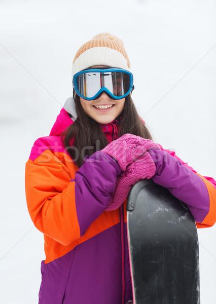 幸せ 若い女性 スノーボード 屋外 冬 レジャー ストックフォト © dolgachov