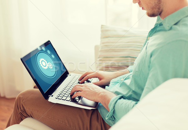 Man werken laptop home technologie Stockfoto © dolgachov