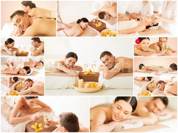 happy family couple in spa salon Stock photo © dolgachov