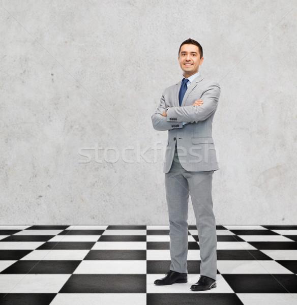 happy smiling businessman in suit Stock photo © dolgachov